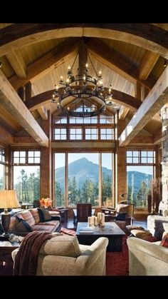 Love The Furniture Placement, Especially Chairs By Window Looking Out At  The View. Beautiful Great Room In A Mountain Home With Amazing Windows U0026  Views!