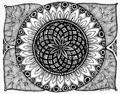 Zendala Sunflower 11x14in ink drawing by Nancy Aurand-Humpf. Art - Mandala  -  Zentangle