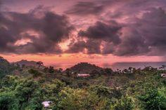 Sunset Photography, Sky Photography, Landscape Photography, Sunset Picture, Costa Rica Photography, Purple Art, Sunset Wall Art, Cloudy Sky