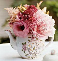 Vintage Teapot Centerpieces By Beautiful Bridal