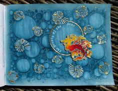 """2.4.2016 Playful art journal page 7 - Beauty of the seas. Pan pastel, clear gesso, TH texture paste, Dylusions sprays in waterbrushes and Indigoblu gilding leaves in Seawhite hardcover art journal (25x19 cm / 10""""x7.5"""").  http://romanassunnycreation.blogspot.ch"""