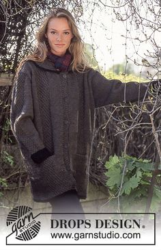 DROPS jacket in Alaska or Air with textured pattern Free pattern by DROPS Design.