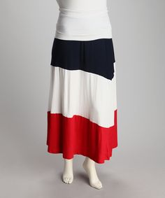 White, Blue & Red Samba Plus-Size Maxi Skirt
