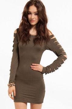 Slasher Dress $19 in Military Olive at www.tobi.com