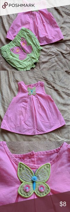 Toddler girl tunic and diaper cover Pink tunic with butterfly detail and green diaper cover with butterfly on back. Gymboree Matching Sets