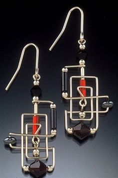 Complicated wire (Frank Lloyd Rectangle Earrings by Harpstone Galleries) Metal Jewelry, Beaded Jewelry, Handmade Jewelry, Silver Jewelry, Jewelry Crafts, Jewelry Art, Jewelry Design, Jewelry Ideas, Wire Wrapped Earrings