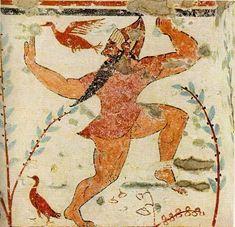 """Фрагмент фрески из""""Гробницы Авгуров"""" в Тарквинии,ок.530 до н.э."""