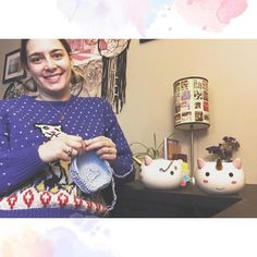 Hi friends!! Its cold and rainy/snowy here on this Monday morning.. so I had to 1. Bust out my vintage cat sweater!! And do a little crochet to start the day... in my unicorn yarn bowl from @darngoodyarn because it just makes me so so happy.  I also tried my hand and ye-old photo shop and not bad huh?  one angle just doesnt do this yarn bowl justice. I did SO MUCH crocheting yesterday but Im am excited for it! I am fired up and ready to make TONS of things! Also... I have a request of you…