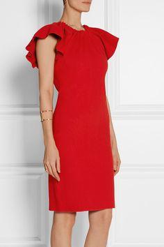 Lanvin - Ruched stretch linen-blend dress