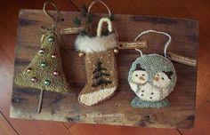 Snow Globe, Stocking & Christmas Tree- Snowman Primitive Punch Needle Ornaments