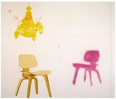 Miranda Skoczek: Eames Chairs with Yellow Chandelier. 2004  http://www.mirandaskoczek.com/gallery/viewer.swf