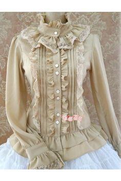 Sweet Ruffles Silk and Linen Lolita Shirt 5 Colors Quirky Fashion, Lolita Fashion, Boho Fashion, Fashion Dresses, Vintage Fashion, Fashion Design, Blouse Styles, Blouse Designs, Vintage Dresses