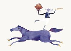 Dog Traveller on Horse Giclee Print 8x11 by ChasingtheCrayon
