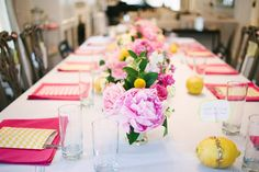 Pretty pink & yellow table