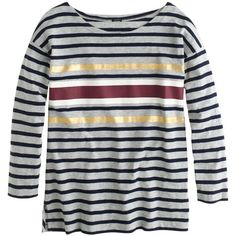 J.Crew Foil Stripe T-Shirt ($42) ❤ liked on Polyvore featuring tops, shirts, j.crew, long sleeved, striped shirt, j crew shirt, long sleeve shirts, striped sailor shirt and evening tops