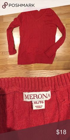 Red MERONA sweater Worn once. Very comfy v neck red sweater. Merona Sweaters V-Necks