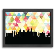 "East Urban Home PaperFinch Designs Las Vegas Triangle Framed by Amy Braswell Graphic Art Size: 13.5"" H x 16.5"" W x 1.5"" D"
