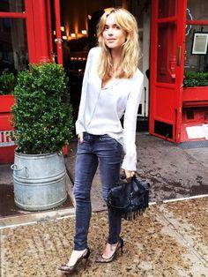 skinny jeans, satin shirt, lace stilettos