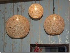 Veja como fazer uma linda luminária artesanal com fios de juta. Fica muito bonita e é muito fácil de fazer.