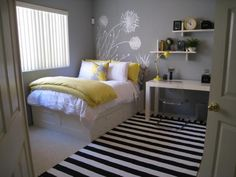 Gray Bedroom Decoration Ideas. Yellow with gray.