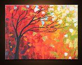 Original pintura paisaje abstracto árbol pintura arte de la pintura de paisaje de arte moderno contemporáneo espátula árbol de roble