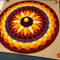 10 Great Onam Pookalam Designs That You Should Try in 2019 - Simple Rangoli Designs Rangoli Designs Latest, Rangoli Designs Flower, Rangoli Patterns, Colorful Rangoli Designs, Rangoli Ideas, Rangoli Designs Diwali, Rangoli Designs Images, Diwali Rangoli, Flower Rangoli