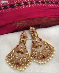 Pretty Designer Earrings From Tvameva ~ South India Jewels Gold Jhumka Earrings, Indian Jewelry Earrings, Gold Chandelier Earrings, Gold Earrings Designs, Ear Jewelry, Antique Earrings, Bracelet Designs, Jewellry Box, Hoop Earrings