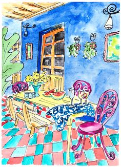 Painting blue Porch. Watercolour Garden painting. Drawing lunch in garden. Original living room decor. A5 size artwork. Colourful garden art
