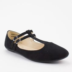Black Double Buckle Mary Jane Flat - Comfy Soles by Bamboo Reversal-05A