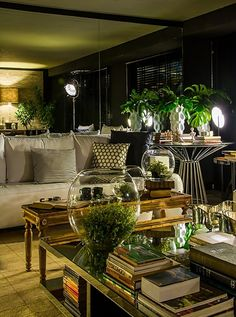 """Beige living room with black / white accents ,  """"green""""  and accents"""