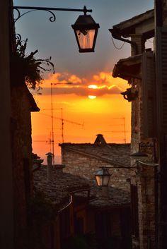 Beautiful Sunset in Spello in Umbria, Italy