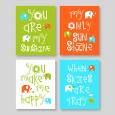 Baby Boy Nursery Art You Are My Sunshine Elephant by YassisPlace