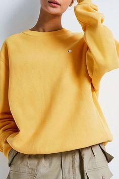 24a28b82dcbb Champion X UO Yellow Reverse Weave Crew Neck Sweatshirt. Urban Outfitters