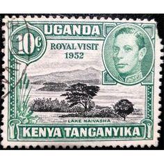 Kenya Uganda and Tanganyika, King George VI, 10 C Postage, Lake Naivasha, Royal Visit 1952 used fine Stamp Values, Old Stamps, Hindu Art, Rare Coins, King George, East Africa, Stamp Collecting, Queen Elizabeth, Postage Stamps