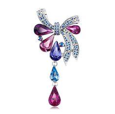 Swarovski Red Crystal Drop Bow Brooch