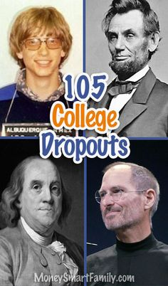 105 College Dropouts that proved to be very successful men & women! Money Tips, Money Saving Tips, Marc Rich, Household Expenses, Part Time Jobs, Steve Jobs, Successful People, Career Advice, College Savings
