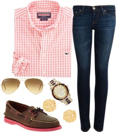 """""""Sperrys and Plaid"""" by sallycummings ❤ liked on Polyvore"""