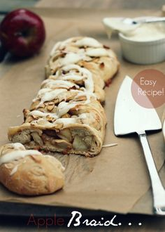 Apple Dessert Braid ~ In this yummy dish, apples are placed throughout a loaf of bread dough and then baked until golden brown. One bite will warm your whole body and leave you craving for more! Apple Desserts, Apple Recipes, Just Desserts, Fall Recipes, Delicious Desserts, Yummy Food, Yummy Recipes, Healthy Recipes, Apple Braid