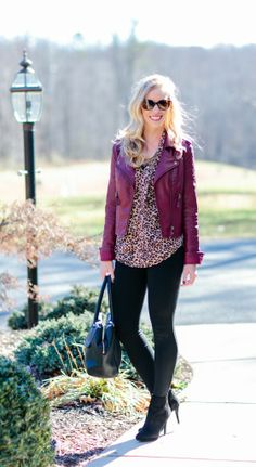 Red Leather & Leopard: burgundy leather moto jacket, leopard, mixed metals, black leggings, suede ankle booties