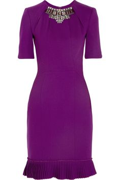 Matthew Williamson | Winter embellished stretch-wool crepe dress | NET-A-PORTER.COM