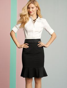 Love a crisp white button down with a classic black skirt. #whbm #workkit