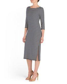 Three Quarter Sleeve Stripe Dress