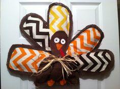 Large Chevron And Burlap Thanksgiving By AmberlynsDoorDecor · Burlap Door  HangersThanksgiving TurkeyBurlap ...