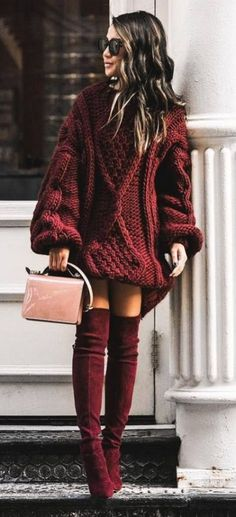Amazing Fall Outfit Oversizerd Knit Sweater Plus Bag Plus Maroon Over Knee Boots