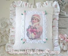 Pink Victorian Snow Girl Pillow  Designs By Lynn-pink, roses, shabby, chic, ruffles, Victorian, Vintage, Lynn,pillow, romantic, jewels,