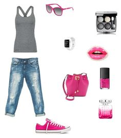 """Grey and pink sporty"" by rhonda-harrison-egan on Polyvore featuring Ivy Park, Sans Souci, Converse, Michael Kors, Dolce&Gabbana, Jimmy Choo, NARS Cosmetics and Christian Dior"
