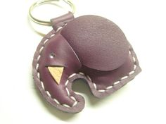 New Laura Elephant Leather Keychain  Purple  by leatherprince, $19.90