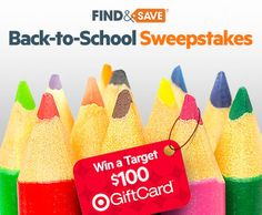 I just entered the Find Back-to-School Sweepstakes! Enter now for your chance to win a $100 Target gift card.