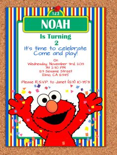 PRINTABLE INVITATION, Elmo Invitation , Sesame Street Invite , Elmo Birthday on Etsy, $5.00