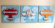 Wild Blue Yonder - Boys Airplane Art  - Children's Room Decor - Nursery Wall Art - 3 - 12x12 Canvases